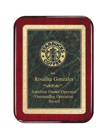 Rosewood Finish Plaque with rounded corners & Marble Plate