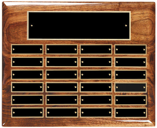 Perpetual 24 Plate High Gloss Walnut Plaque 10-1/2 inch x 13 inch - Horizontal
