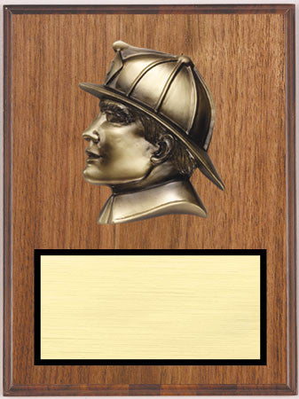 Walnut Veneer Plaque with Fireman Head 9 inch x 12 inch