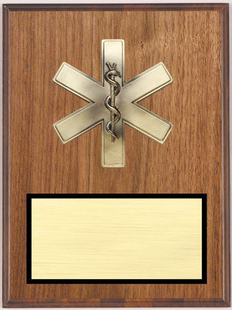 Walnut Veneer Plaque with Caduceus 9 inch x 12 inch