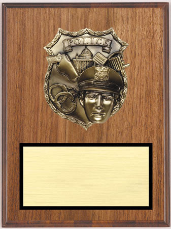 Walnut Veneer Plaque with Police Relief 9 inch x 12 inch