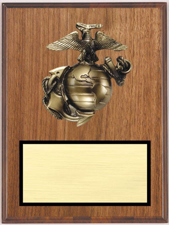 Walnut Veneer Plaque with Marine Relief 9 inch x 12 inch