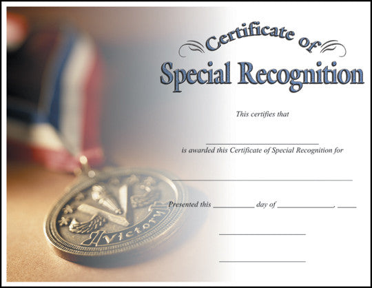 Special Recognition  -   8-1/2  inch x 11inch Certifiate