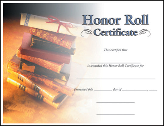 Honor Roll  -   8-1/2  inch x 11inch Certifiate