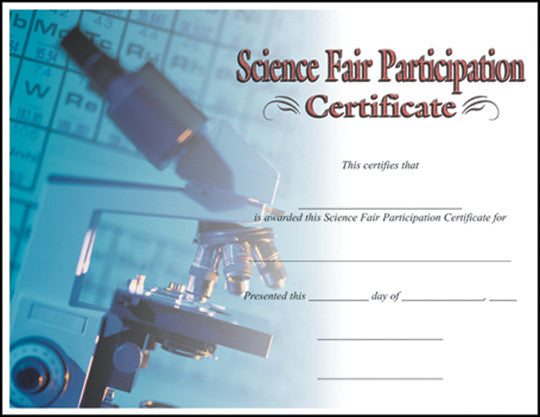 Science Fair Participation  -   8-1/2  inch x 11inch Certifiate