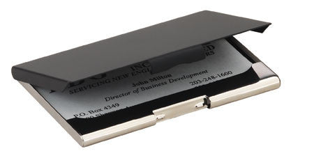 Business Card Case Available in Black / Chrome Steel, Black Leather / Aluminum, or Blue Leather / Aluminum