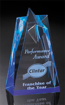 ACRYLIC AWARDS - Star Tower Reflective SeriesReflective Series - STAR  blue in three sizes