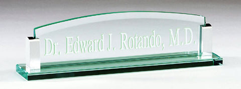 Glass Desk Name Plate 10 inch x 2-1/2 inch