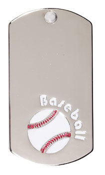 Silver Dogtags - 1-1/8 inches x 2 inches - Baseball
