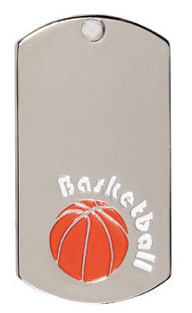 Silver Dogtags - 1-1/8 inches x 2 inches - Basketball
