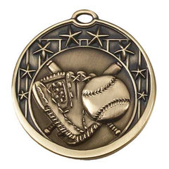 Star Series Sport Medals with ribbon- 2 inch medal - Baseball