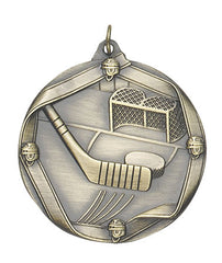 Ribbon Series Sport Medals - 2 1/4 inch  Medal with ribbon  - Hockey
