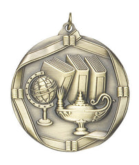 Ribbon Series Sport Medals - 2 1/4 inch  Medal with ribbon  - Lamp Of Knowledge