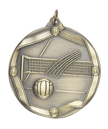 Ribbon Series Sport Medals - 2 1/4 inch  Medal with ribbon  - Volleyball