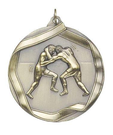 Ribbon Series Sport Medals - 2 1/4 inch  Medal with ribbon  - Wrestling