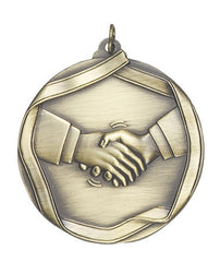 Ribbon Series Sport Medals - 2 1/4 inch  Medal with ribbon  - Handshake