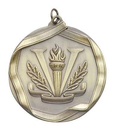 Ribbon Series Sport Medals - 2 1/4 inch  Medal with ribbon  - Victory