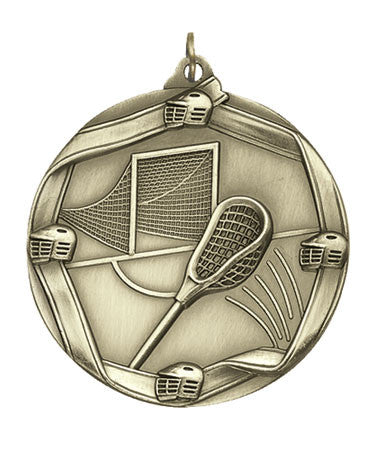 Ribbon Series Sport Medals - 2 1/4 inch  Medal with ribbon  - Lacrosse