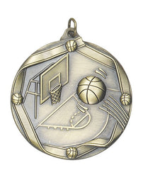 Ribbon Series Sport Medals - 2 1/4 inch  Medal with ribbon  - Basketball