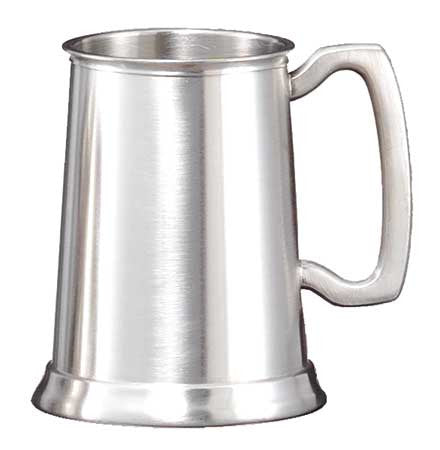 Satin Pewter Mug, Bright Finish