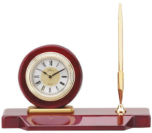 Piano Finish Rosewood Desk Set, Clock with 1 Pen 5 inch x 9 inch