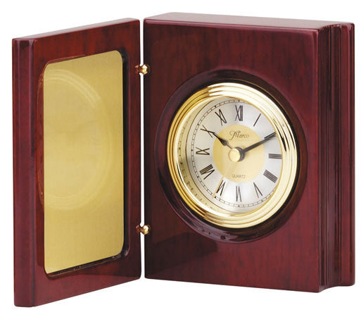 Piano Finish Rosewood Book Clock 7-1/2 inch x 5-1/4 inch