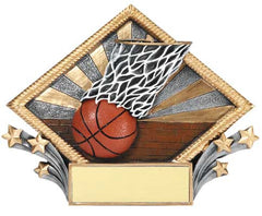 Basketball Resin Diamond Plate, 7-1/2  inch x 6 inch - Stand or Hang