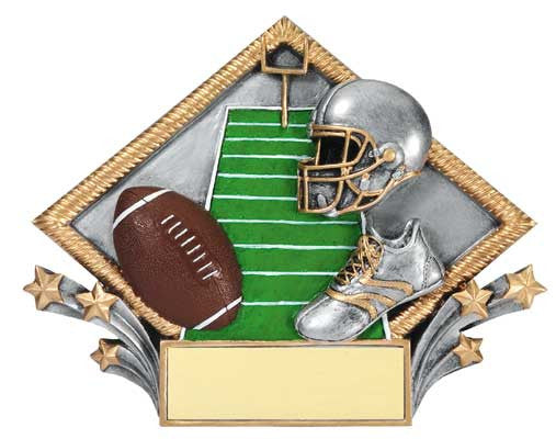 Football Resin Diamond Plate, 7-1/2  inch x 6 inch - Stand or Hang