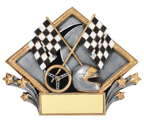 Racing Resin Diamond Plate, 7-1/2  inch x 6 inch - Stand or Hang