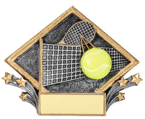 Tennis Resin Diamond Plate, 7-1/2  inch x 6 inch - Stand or Hang