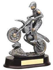 Male Motorcycle, Silver with Gold Trim 9 inch