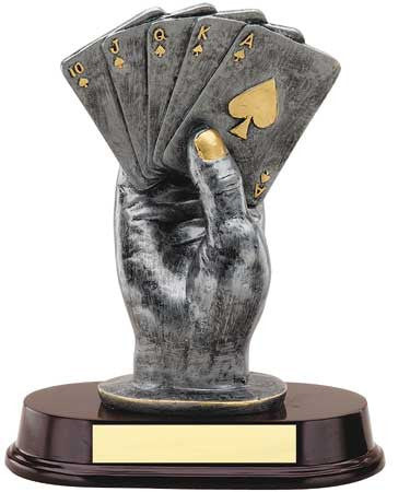 Hand of Cards, Silver with Gold Trim 9 inch