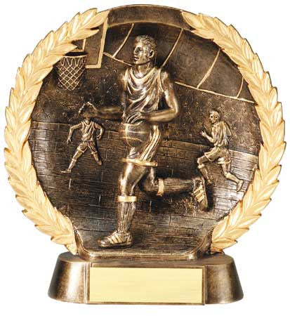 Male Basketball High Relief Resin Plate 5-1/2  inch or 7-1/2  inch