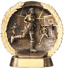 Female Basketball High Relief Resin Plate 5-1/2  inch or 7-1/2  inch