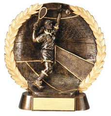 Female Tennis High Relief Resin Plate 7-1/2  inch