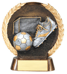 Male Soccer High Relief Resin Plate 5-1/2  inch with Silver Accents