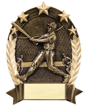 Star Oval Resin Male Baseball 6-1/4 inch. Self standing or Plaque mount