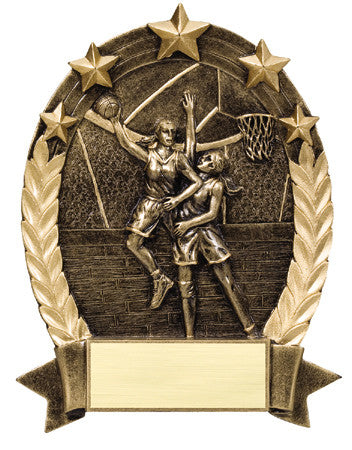 Star Oval Resin Female Basketball 6-1/4 inch. Self standing or Plaque mount