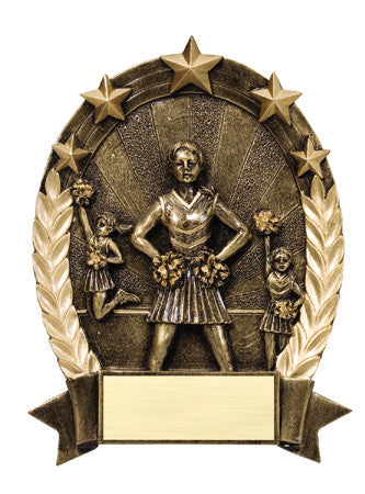 Star Oval Resin Female Cheerleader 6-1/4 inch. Self standing or Plaque mount