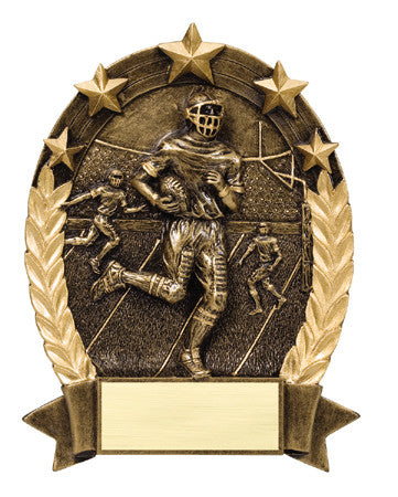 Star Oval Resin Male Football 6-1/4 inch. Self standing or Plaque mount