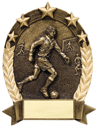 Star Oval Resin Male Soccer 6-1/4 inch. Self standing or Plaque mount
