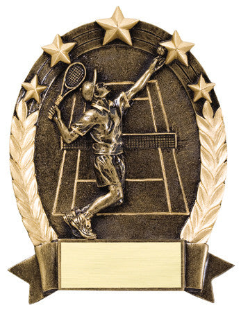 Star Oval Resin Male Tennis 6-1/4 inch. Self standing or Plaque mount