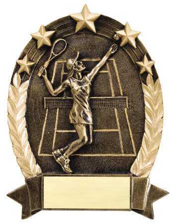 Star Oval Resin Female Tennis 6-1/4 inch. Self standing or Plaque mount