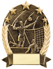 Star Oval Resin Male Volleyball 6-1/4 inch. Self standing or Plaque mount