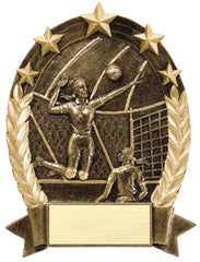 Star Oval Resin Female Volleyball 6-1/4 inch. Self standing or Plaque mount