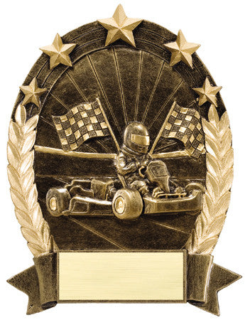 Star Oval Resin Go-Kart 6-1/4 inch. Self standing or Plaque mount