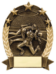 Star Oval Resin Male Wrestler 6-1/4 inch. Self standing or Plaque mount