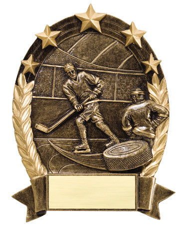 Star Oval Resin Hockey 6-1/4 inch. Self standing or Plaque mount