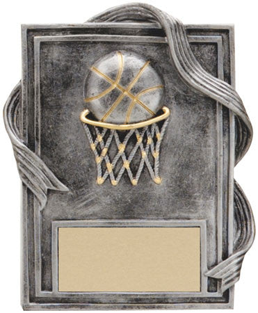Basketball Plaque with Gold Trim 6 inch