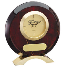 Piano Finish Rosewood Round Clock 6-1/2 inch x 7-1/2 inch